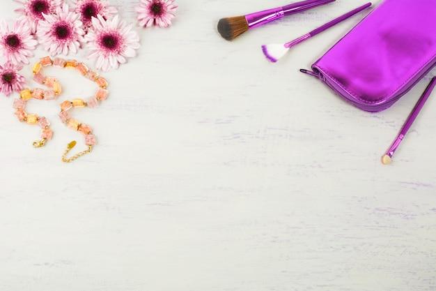 Acessórios cosméticos estilo de fundo