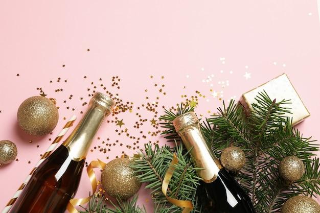 Acessórios de ano novo e garrafas de champanhe