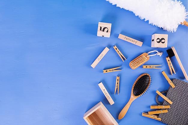 Acessórios de banheiro zero desperdício de materiais ecológicos, escova de sisal natural, pente de madeira, pino, calendário.