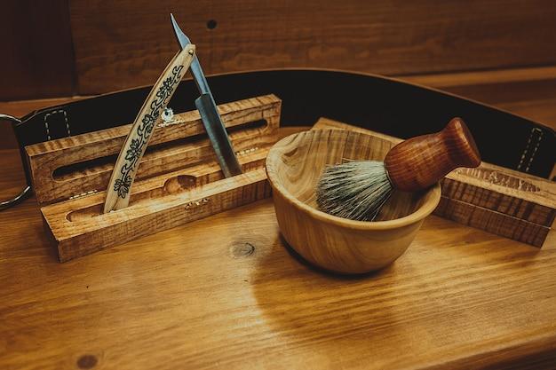 Acessórios de barbear em um luxo