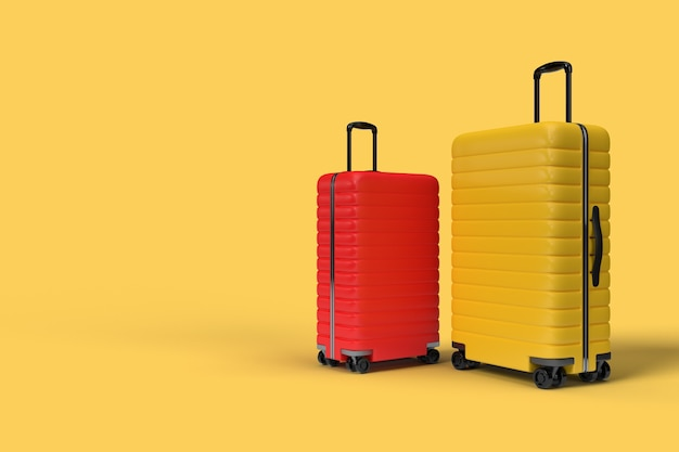 Acessórios de mala de viagem isolados em amarelo