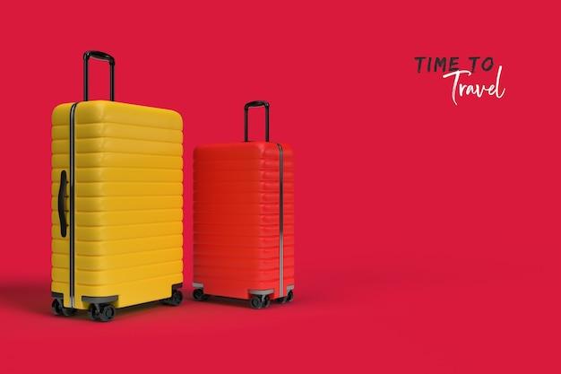 Acessórios de mala de viagem isolados em rosa