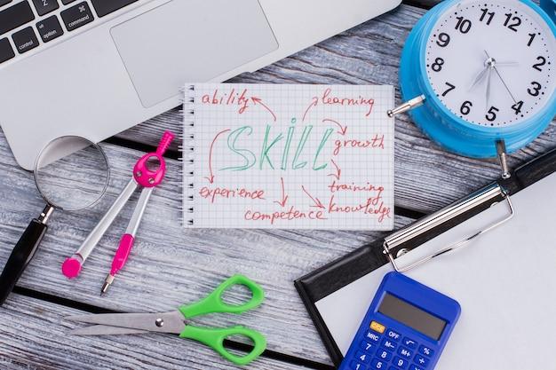 Acessórios de papelaria planos para estudar e aprender. competências e conceito de autodesenvolvimento. mesa de madeira branca.
