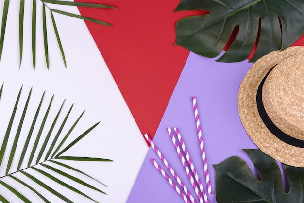 Acessórios de praia: chapéu com folhas tropicais sobre fundo colorido. fundo de verão