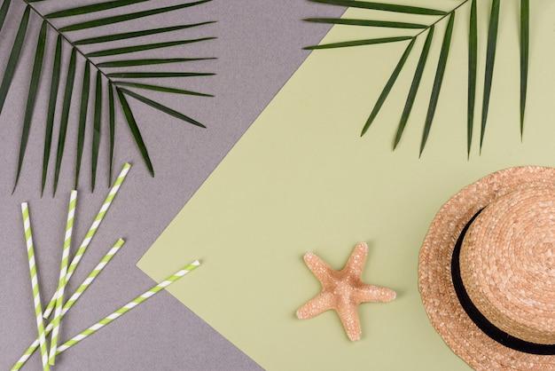 Acessórios de praia e estrelas do mar em uma superfície colorida Foto Premium