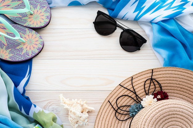 Acessórios de praia no verão