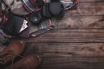 Acessórios do fotógrafo do viajante