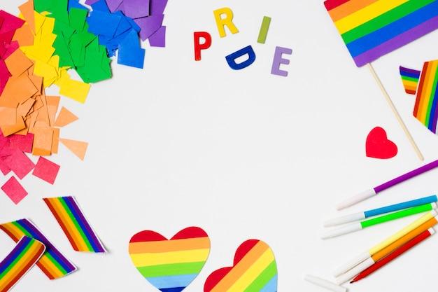 Acessórios do orgulho gay em design plano