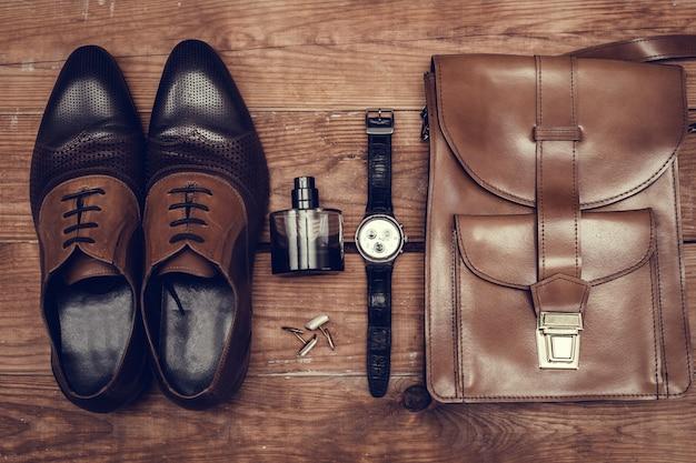 Acessórios masculinos. estilo de moda clássica.