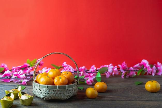 Acessórios no ano novo lunar e conceito de férias do ano novo chinês.