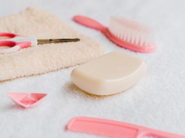 Acessórios para banho close-up para bebê