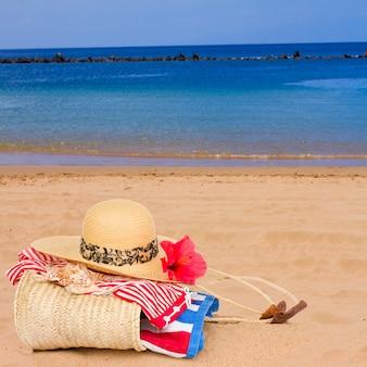 Acessórios para banhos de sol na praia