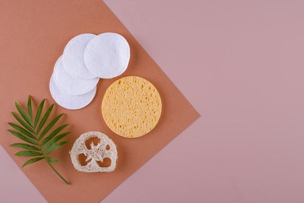 Acessórios para cuidados com a pele reutilizáveis - conceito de estilo de vida sustentável sem desperdício