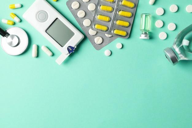 Acessórios para diabetes, vista superior