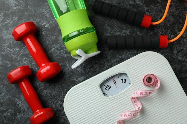 Acessórios para perda de peso em preto esfumaçado, vista superior