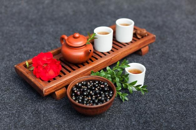 Acessórios tradicionais para a cerimônia do chá