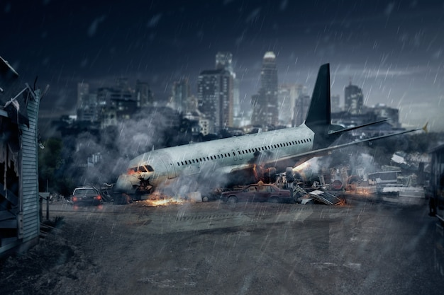 Acidente de avião, restos de um avião de passageiros acidentado, acidente aéreo