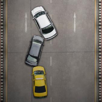 Acidente de carro acidente, vista aérea sobre a estrada e rodovia