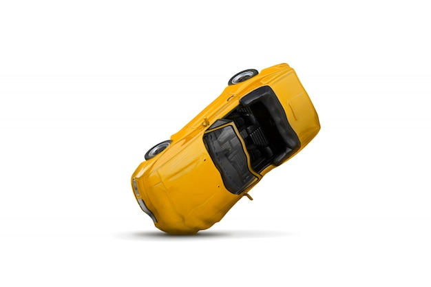 Acidente de carro amarelo com cena de dano