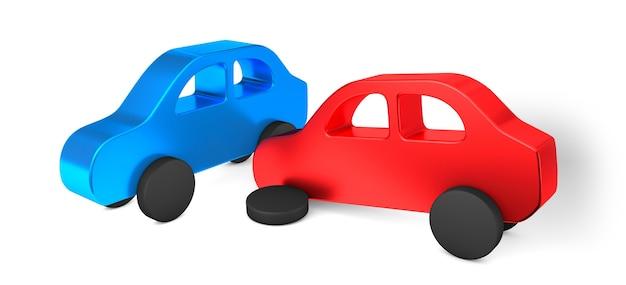 Acidente de carro o carro vermelho bateu na lateral do azul. seguro de carro isolado no branco