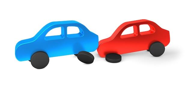 Acidente de carro o carro vermelho bateu na parte de trás do azul. seguro de carro isolado
