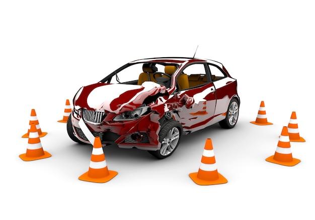 Acidente de carro vermelho