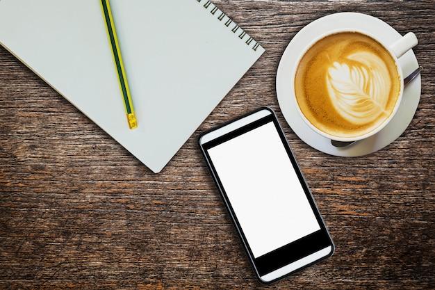 Acima, café, caderno, telefone, madeira, tabela, textura