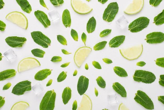 Acima, foto de visão aérea de folhas de hortelã, cubos de gelo e fatias de limão em círculos isolados no fundo branco