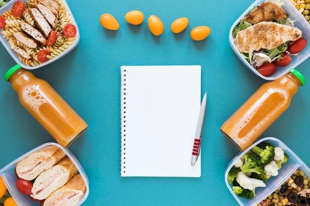 Acima vista alimentos saudáveis em recipientes