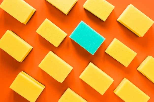 Acima vista arranjo com esponjas em fundo laranja