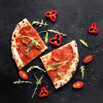 Acima vista arranjo de comida italiana