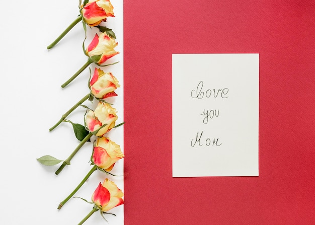Acima, vista, arranjo de flores para o dia das mães