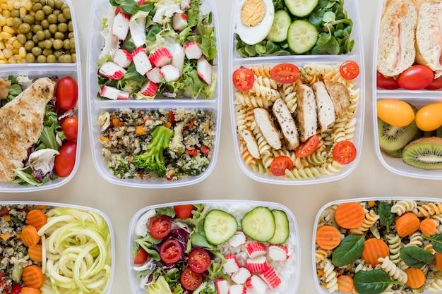 Acima vista arranjo nutritivo alimentos