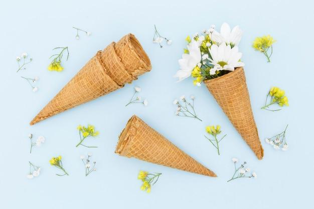 Acima vista decoração com cones e flores