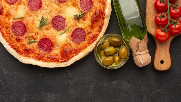 Acima vista deliciosa pizza