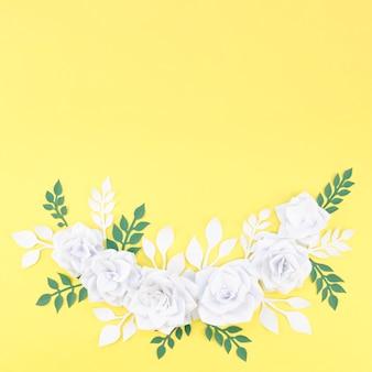 Acima vista moldura floral com cópia-espaço