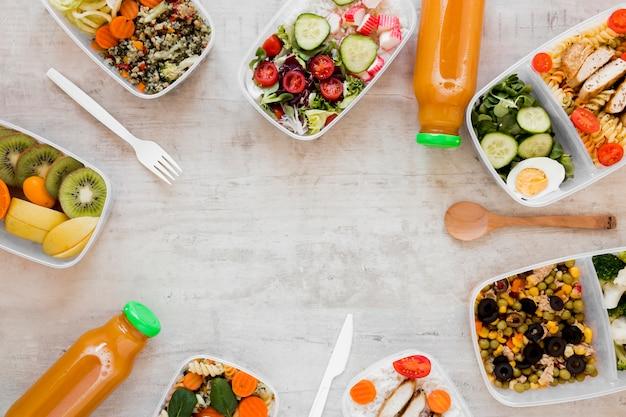 Acima vista quadro refeição saudável