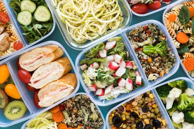 Acima vista vista sortido alimentos saudáveis
