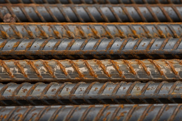 Aço, construção de aço, construção ferros para construção, pilha de aço com nervuras