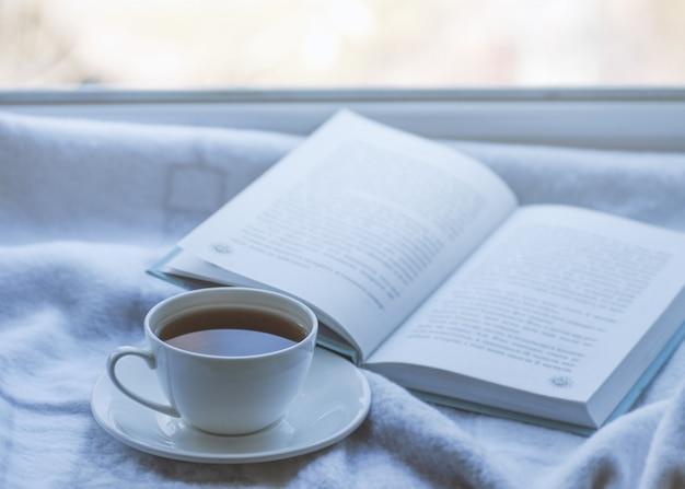 Aconchegante inverno ainda vida: caneca de chá quente e livro com manta quente no peitoril da janela contra a paisagem de neve do lado de fora.