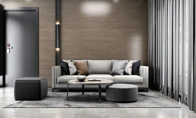 Aconchegante sala de estar e design de interiores de fundo de textura de parede de madeira