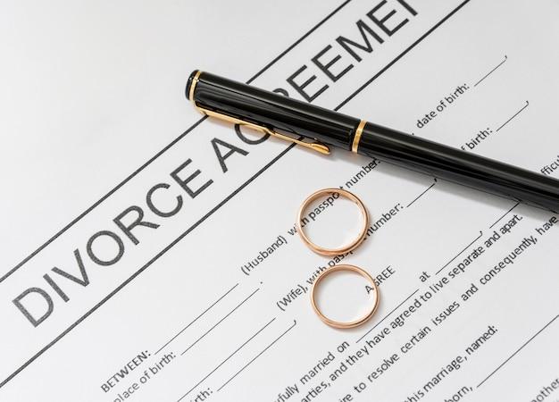 Acordo de divórcio com anéis de ouro