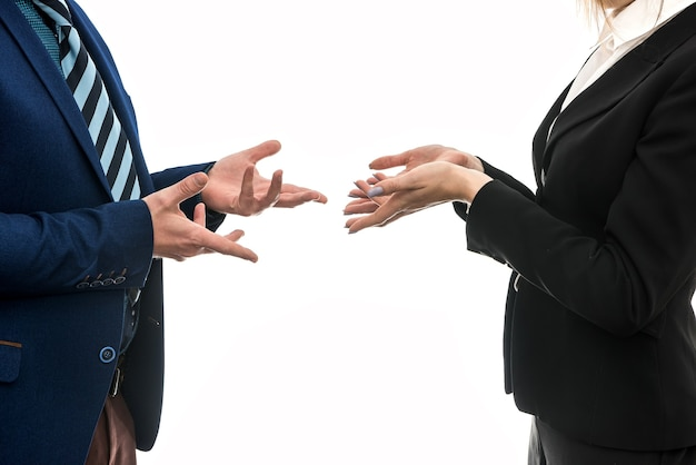 Acordo de negócios. gestos manuais entre parceiros de negócios