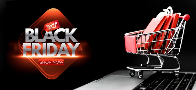 Acordo de vendas da black friday com carrinho de compras
