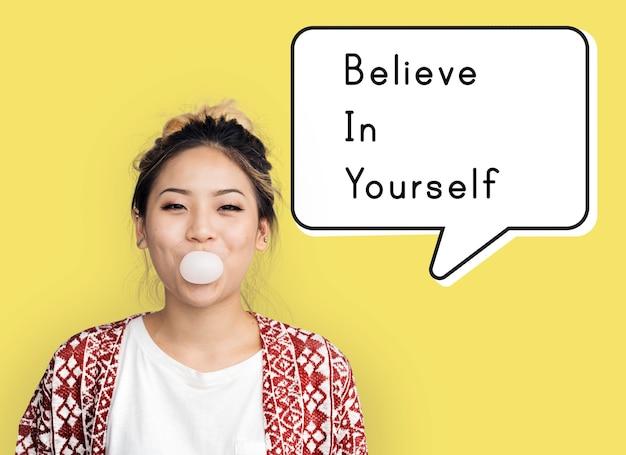 Acredite em si mesmo. a confiança estimula a força