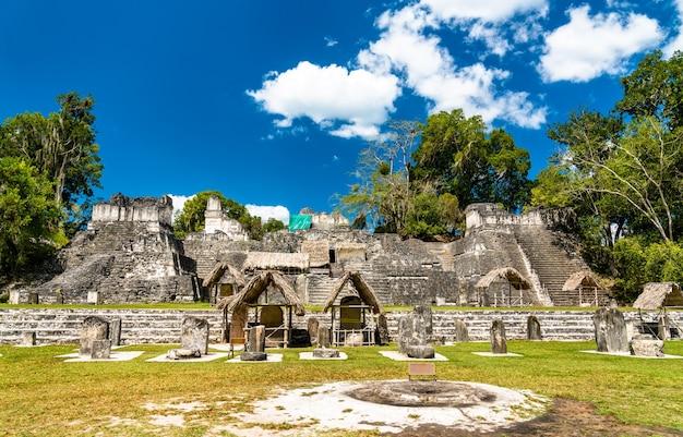 Acrópole do norte em tikal. patrimônio mundial da unesco na guatemala Foto Premium