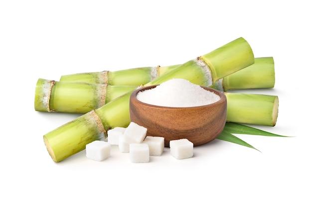 Açúcar branco com cana-de-açúcar fresca em fundo branco.