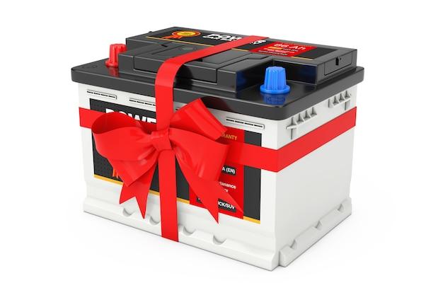 Acumulador 12v de bateria recarregável de carro com etiqueta abstrata e laço vermelho e fita de presente em um fundo branco. renderização 3d