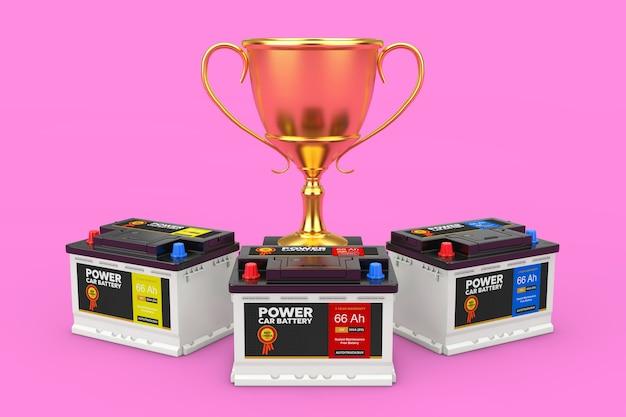 Acumuladores 12v de bateria recarregável de carro com etiquetas abstratas e troféu de prêmio de ouro em um fundo rosa closeup extrema. renderização 3d