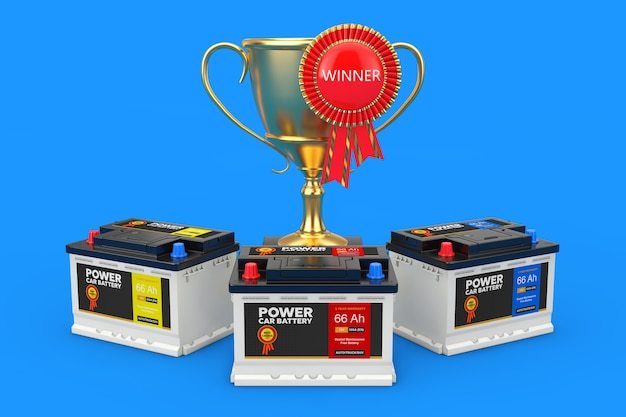 Acumuladores de 12v de bateria recarregável de carro com etiquetas abstratas, troféu de prêmio dourado com roseta de fita de prêmio vermelho e sinal de vencedor em um fundo azul closeup extrema. renderização 3d
